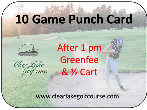 10 Game Punch Card & 1/2 Cart After 1:00 pm