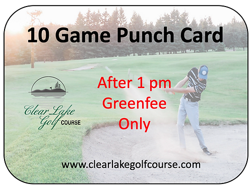 10 Game Punch Card After 1:00 pm