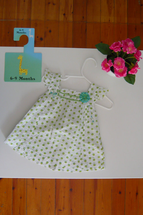 Green Dots and Flower Summer Fashion