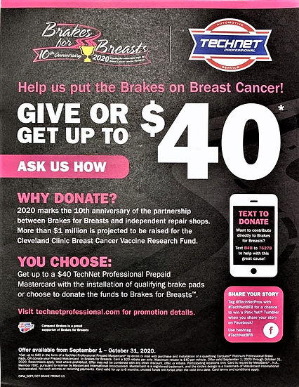 Breaks for Breast Campaign- Quality Automotive
