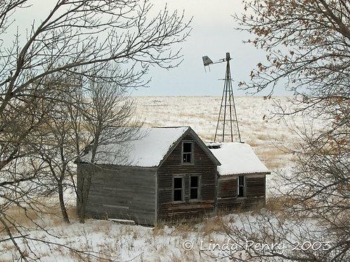 Winter Farmhouse Notecard