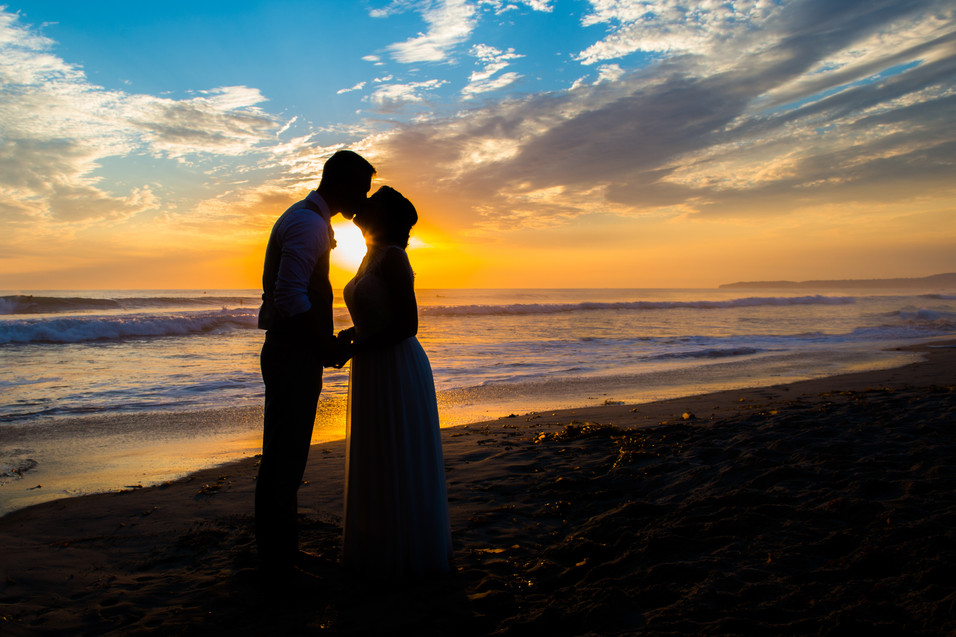 Sunset at San Clemente Beach Wedding Casa Romantica by Photographer Jen Marie Photography in Southern California
