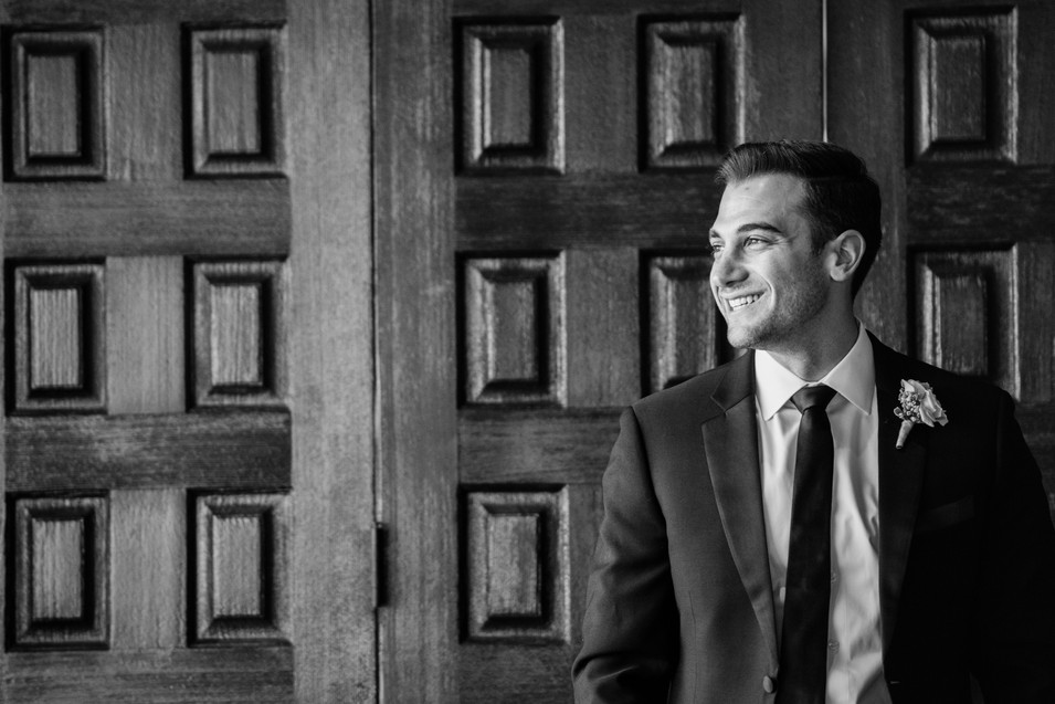 Handsome Groom Dreaming About His Bride at the Bel Air Bay Upper Bay Club Wedding by Jen Marie Photography in Southern California