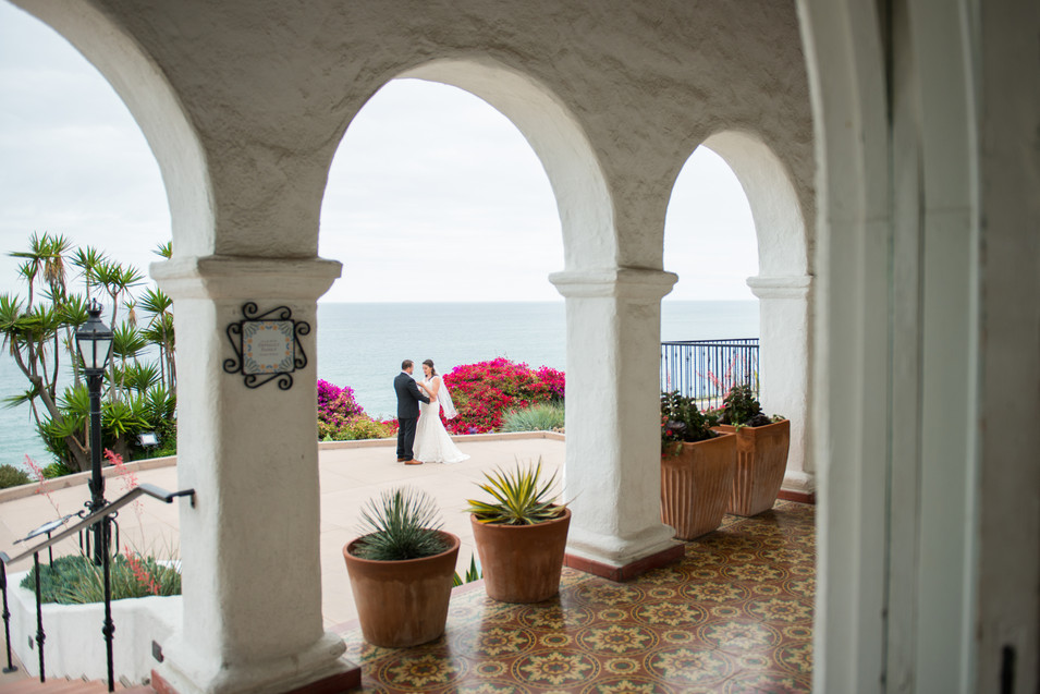Most Gorgeous View in San Clemente at the Historical Mansion, Casa Romantica Wedding in San Clemente, California. Photographer Jen Marie Photography