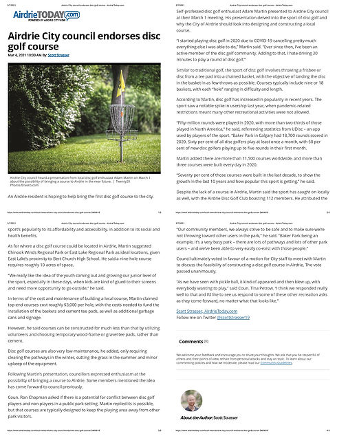Airdrie City council endorses disc golf