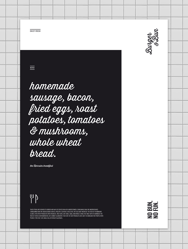 Burger & Bun - restaurant - minhdesigns - graphic design by Minh - Menu and placemat design