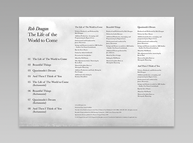 Rob Dougan - Australian composer - minhdesigns - graphic design by Minh - The Life of the World to Come - Booklet design