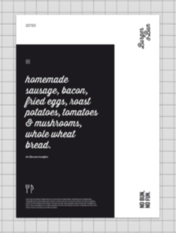 Burger & Bun - restaurant - minhdesigns - graphic design by Minh - Menu and placemat design