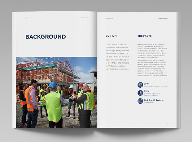 Clarke Group - Auckland New Zealand - minhdesigns - graphic design by Minh - Joint Venture Overview - Document layout design