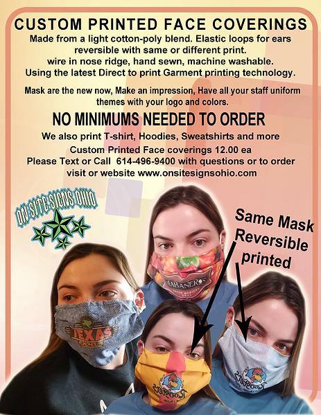 Custom printed face coverings