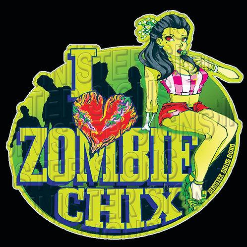 I heart zombie chix sticker