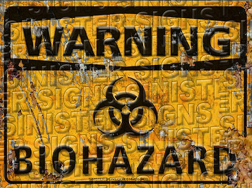 "WARNING BIOHAZARD YELLOW12""X9"""