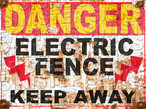 """DANGER ELECTRIC FENCE LIGHTING BOLTS 12""""X9"""""""