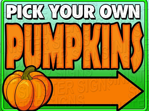 Pumpkin Patch Double Sided Road Signs Right 10 pack