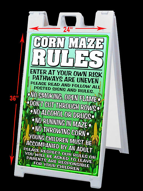 Corn Maze Rules Double Sided A-Frame