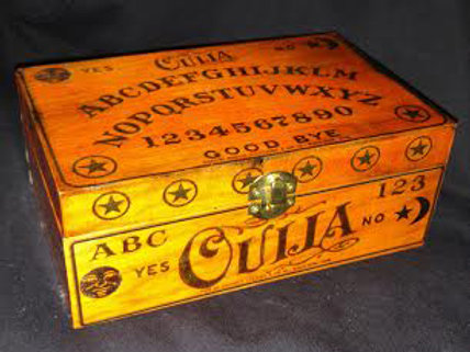 OUIJA ANTIQUE WOOD LARGE  KNICK NACK BOX