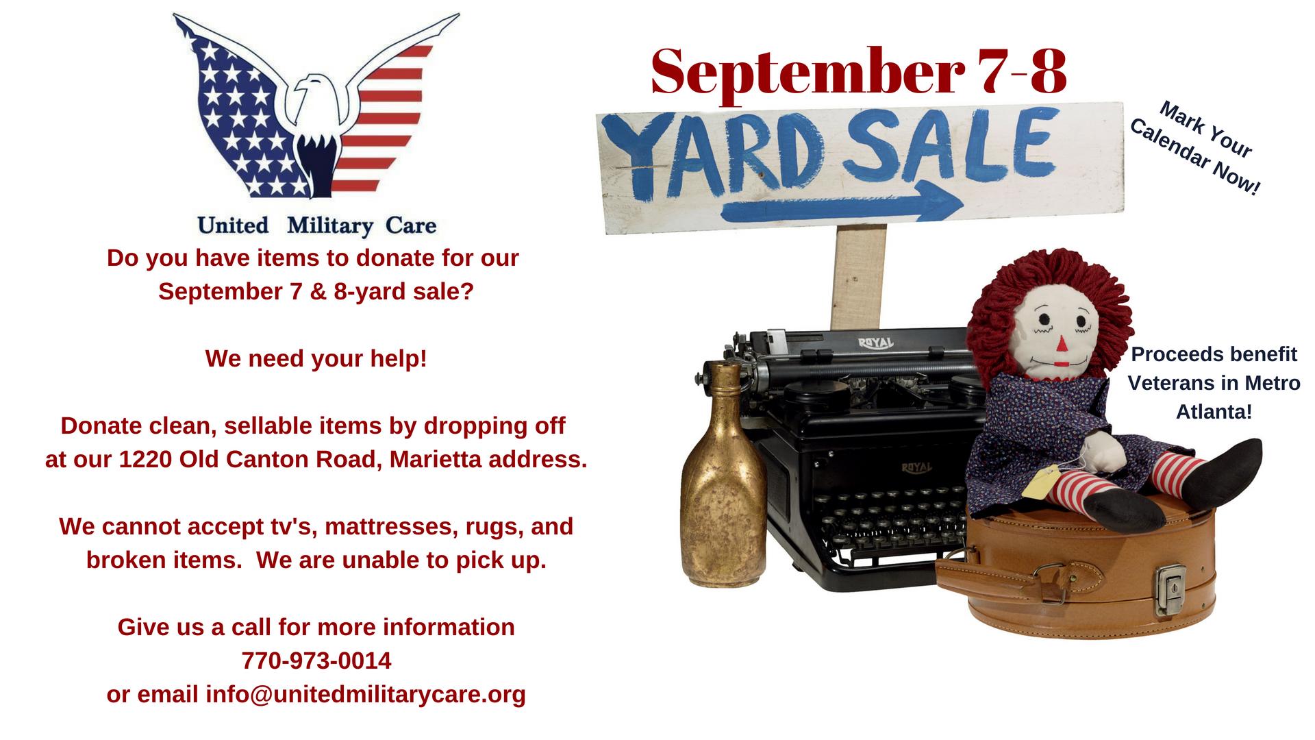 9/8 Yard Sale! | United Military Care Military Nonprofit