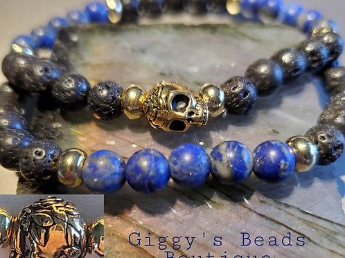 Lapis/Lava Skull Bracelet Set