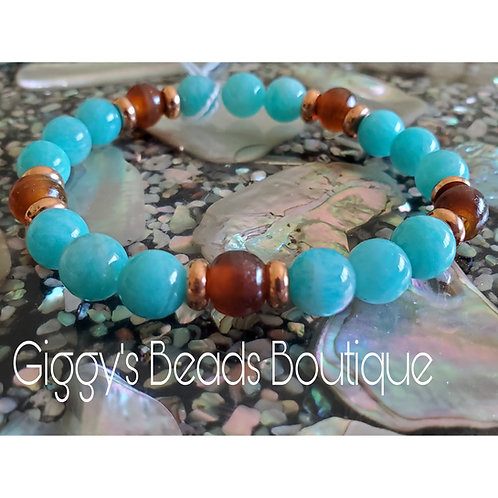 Amazonite Stretch Bracelet with Copper & Horn