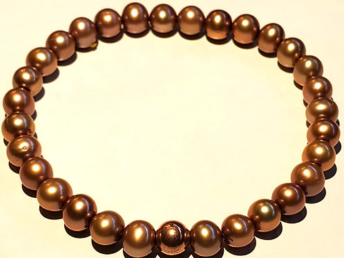 Pearls with Copper Bead Bracelet