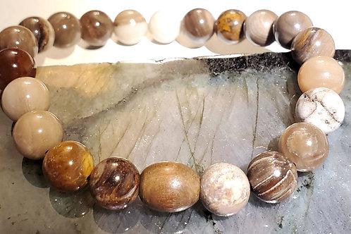 Petrified wood with Wood feature bead Bracelet