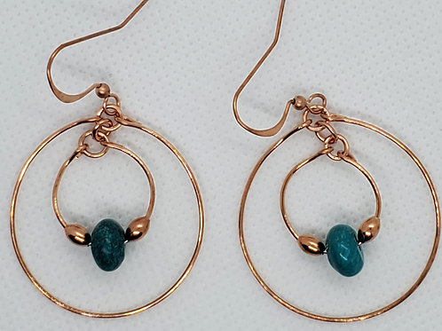 Double Copper Hoops with Turquoise Earrings