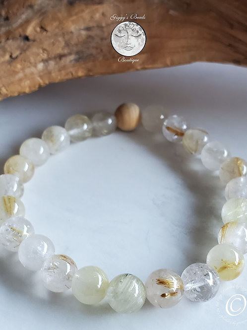 Rutilated Quartz and Sandlewood Bracelet