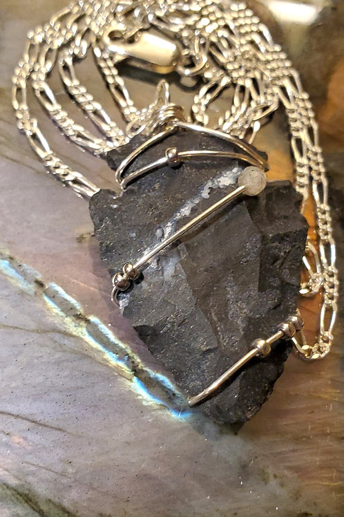 Obsidian Arrowhead, with labradorite & Palladium Beads on sterling Silver Chain
