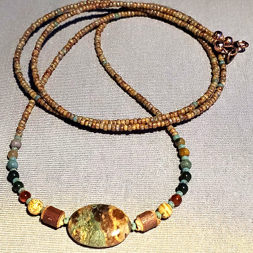 Jasper, Wood, Carnelian & Turquoise on Copper Beaded Chain Necklace