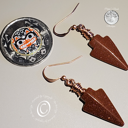 Ccopper Wire Wrapped Goldstone Arrowhead on Copper   Ear Wires