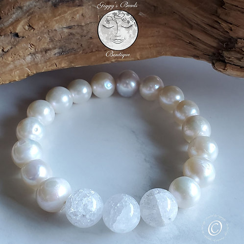 Pearls and Cracked Quartz Bracelet