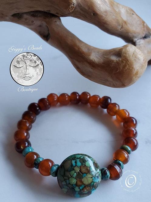 Buffalo Horn, Jasper & Turquoise Bracelet