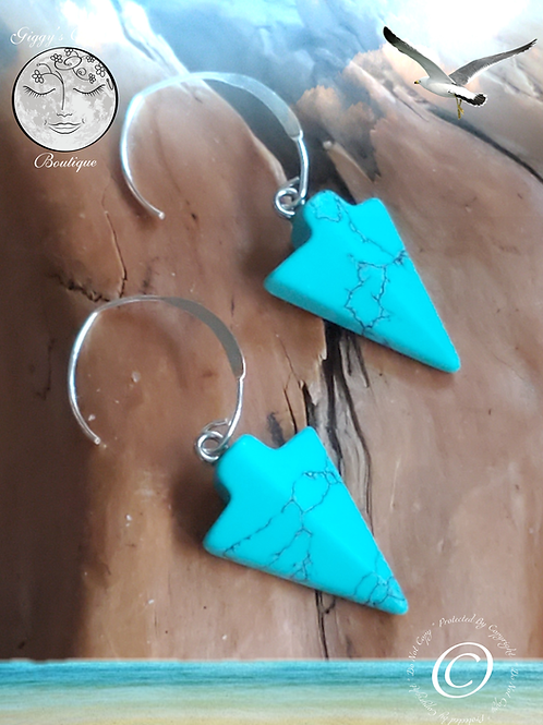 Turquoise Howlite  &  Sterling Silver Ear Wires