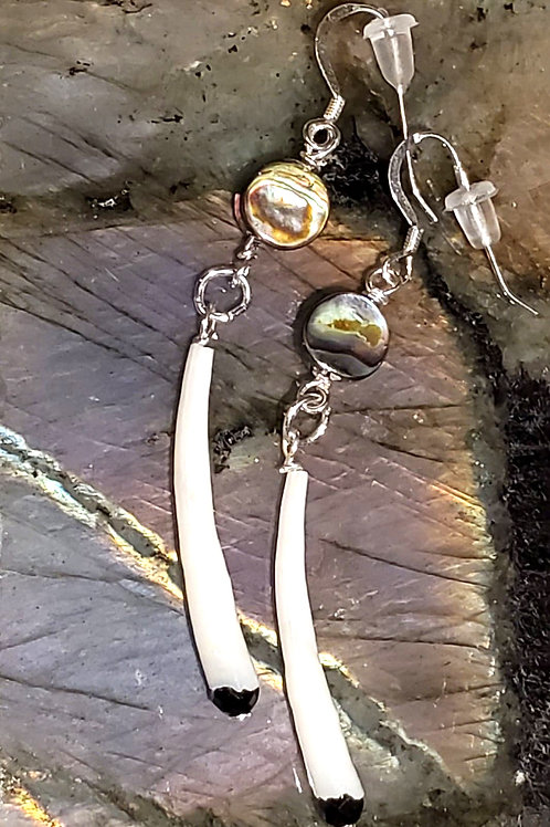 Bone, Abalone and Spinel with Swarovski on Sterling Silver