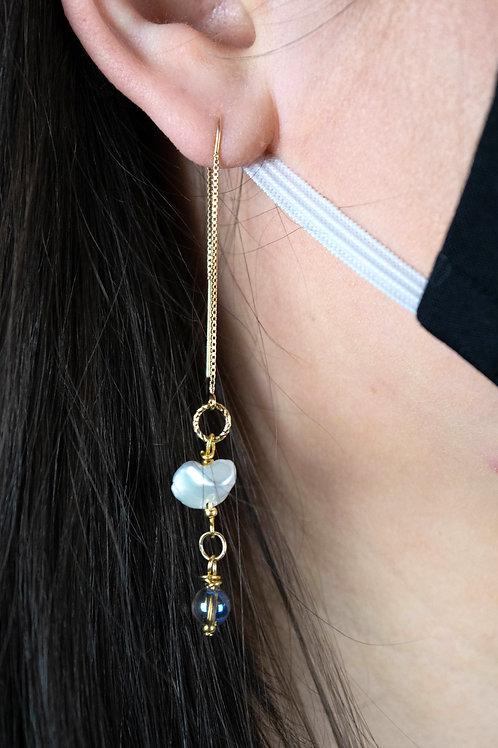 Keshi Pearls, Gold beads with Quartz Long Earrings