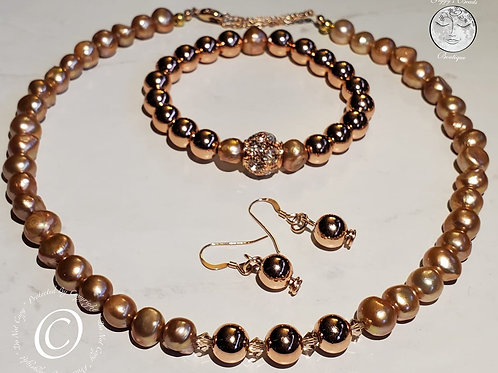 Champange Pearls, Swarovski, and Hematite Jewelry Set