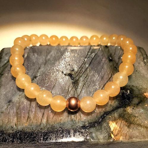 Peach Quartz with Feature Copper Bead Bracelet