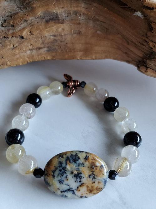 Moss Agate, Peach Quartz, Onyx, Swarovski, Copper Bee Bracelet