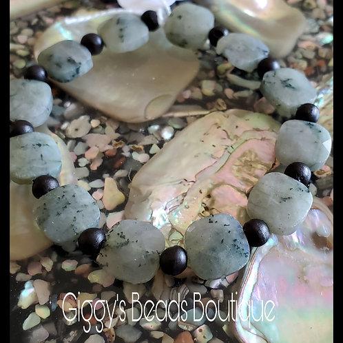 Jade & Wood   Stretch Bracelet