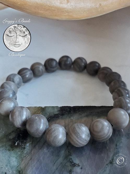Grey Petrified Wood Fossil Bracelet