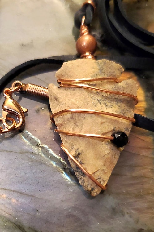 Jasper Arrowhead, Onyx bead with copper on Leather