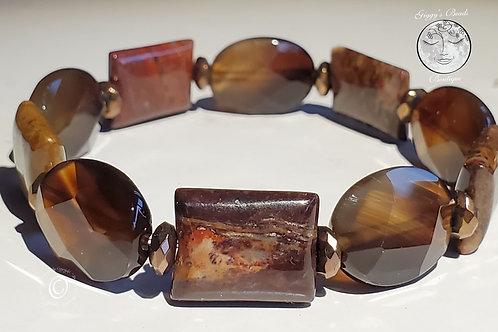 Jasper, Vintage Onyx and Copper Coated Pyrite Bracelet