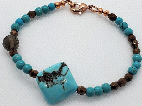 Turquoise, Smokey Quartz Bracelet
