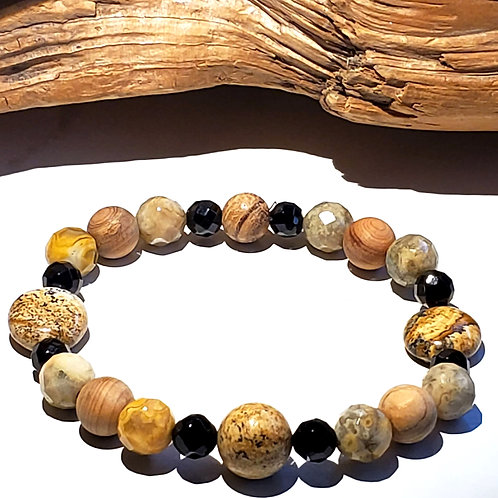 Onyx. Jasper and Wood Bracelet