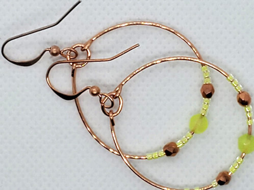 Green Agate & Copper Hoops