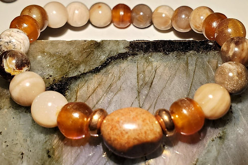 Petrified wood, Buffalo Horn, Copper beads and Fossilized Coral  Bracelet