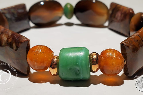 Jasper, Quartz, Buffalo Horn, Turquoise trade bead and Copper Bracelet