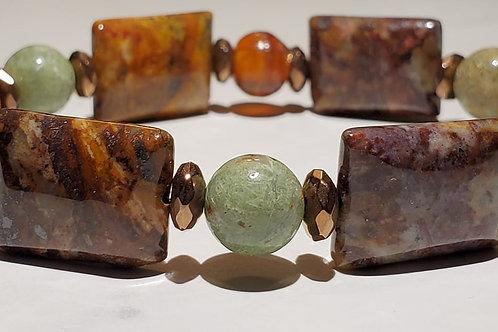 Mixed Jasper with Coper Coated Hematite Bracelet