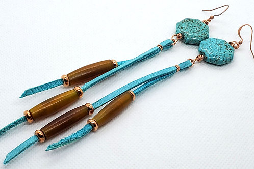 Leather, Turquoise and Copper Beads on Copper Earrings