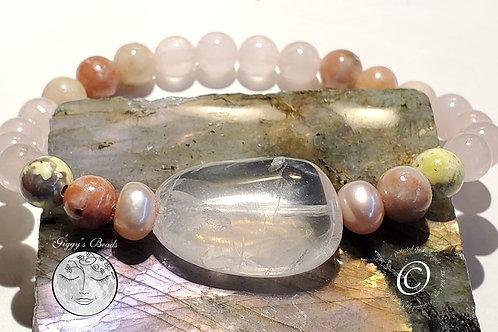 Lepidolite, Rose Quartz and Pearl Bracelet